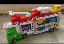 Xem Xe tải chở xe ô tô cứu hỏa và tầu hỏa 4K video Car, fire truck and train Carrier toy Kid Studio