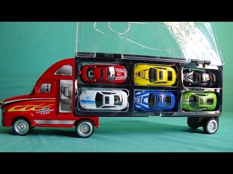 Xem Car toy, Xe ô tô chở xe ô tô con đồ chơi, Truck carrying case toy by Kid Studio