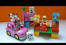 Xem Đồ Chơi Lego Dễ Thương, Mô Hình Siêu Thị Xe hơi Và Cắm Trại (Bí Đỏ) – Lego Duplo market place (5683)
