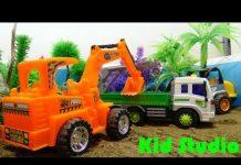 Xem Car toy đồ chơi xe ô tô cần cẩu xe máy xúc xây dựng chuồng trại cho con vật 621 Kid Studio