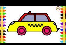 Xem Bé Vẽ Và Tô Màu Xe Ô Tô Taxi Đơn Giản 💚💖💙 Minh Anh Tô Màu