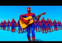 见 蜘蛛侠卡通 – 超级英雄和滑稽的颜色汽车