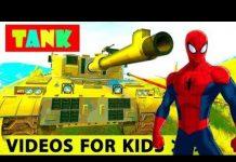 见 真正的汽车和坦克卡通为孩子与蜘蛛侠滑稽电影苗圃儿童歌曲