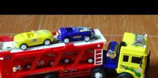 Xem Car toy – Xe chở xe ô tô và bài hát Old McDonald –  Car Carrier Toys by Kid Studio