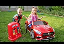 View Funny kids Melissa and Arthur ride on power wheels / The car ran out of petrol Arthur helps the Girl