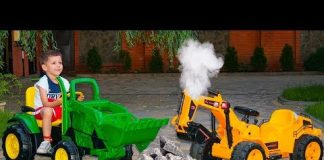 View Funny Tema ride on Sportbike Tractor Pretend Play with toys Power Wheels cars video for kids