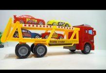 Xem Car career truck toy Xe ô tô chở xe con đồ chơi và học màu sắc 696 Kid Studio
