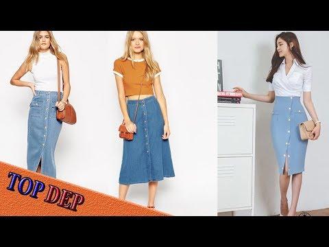 Xem Các mẫu chân váy midi jean vẻ đẹp cổ điển thời trang 2017