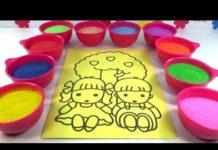 Xem HỌC VÀ CHƠI!NHẠC THIẾU NHI HAY!ĐỒ CHƠI TRẺ EM -TÔ MÀU TRANH CÁT ĐÔI BẠN NHỎ!Colored Sand Painting!