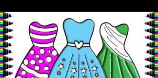 Xem bé yêu | vẽ và tô màu thời trang đầm | Draw and color dress fashion | bé yêu học tô màu
