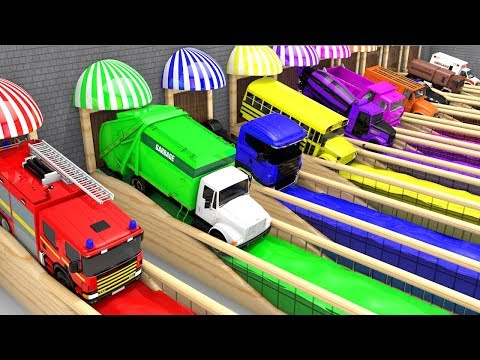 Xem Colors for Children to Learn with Street Vehicles with Color Water Sliders for Kids