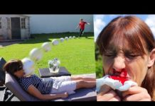 Video KICKING A FOOTBALL AT MY MUMS FACE!! (Broken Nose)
